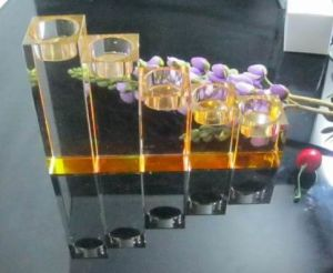 Hot Sale Crystal Candle Stick Set in Amber pictures & photos