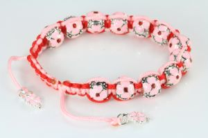 Fashion Valentine′s Day Gift Pink Red Silver Beads Bracelet Jewelry (Ve25)