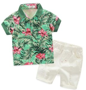 Summer Boy Flower Shirt Suits Clothes with Shorts Sq-18602 pictures & photos