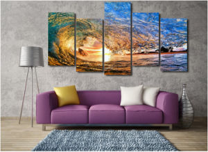 HD Printed Sunset Light Reflecting in The Wave Painting on Canvas Room Decoration Print Poster Picture Mc-047 pictures & photos