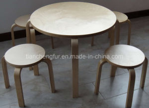 Bent Wood Table and Stools Set (TC8182)