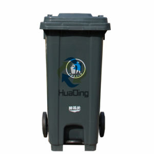 Plastic Trash Bin Rubber Wheel Trash Can for Outdoor pictures & photos