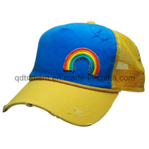 Washed Hand Stitches Applique Embroidery Leisure Trucker Cap (TMT6456) pictures & photos