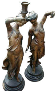 Bronze Lady Sculpture Candleholder (SL508) pictures & photos