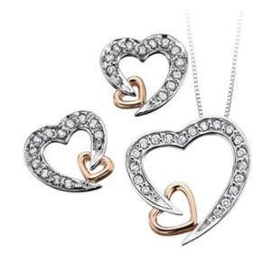 China Two Tone Women Heart Pendant Necklace Earrings Set