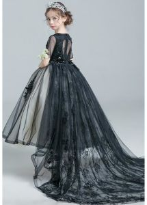Black Prom Dresses Flower Girl Dress Short Sleeves Lace Girl′s Ball Gown F2014622 pictures & photos