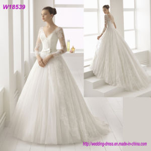 V-Neck Formal Dress A-Line Silver Beading Wedding Gown W18539 pictures & photos