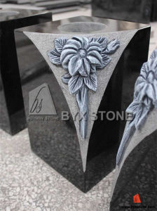 Granite Stone Flower Vase for Monument with Carved Flower pictures & photos