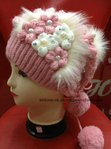 New Design Fashion Hand Knit Flower Lady Girl Hat Beanie pictures & photos