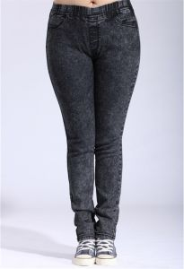P1167 Women Gray Skinny Elastic Jeggings with Plus Size pictures & photos
