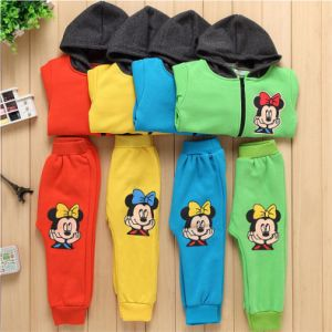 S1136 2-6 Years Kids Fleece Hooded Coat+Pants 2PCS Suit pictures & photos