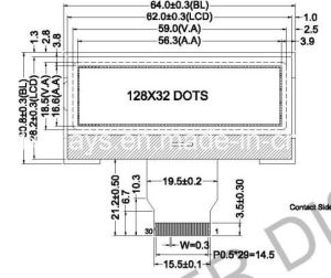 LCD Cog Display, 128X32 Dots Graphic LCD: Aqm12832bc Series pictures & photos