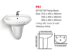 Wall-Hung Basin with Pedestal (No. P61) Half Pedestal Ceramic Sink pictures & photos