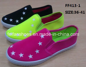 Latest Cheap Lady Injection Casual Shoes Flat Canvas Shoes (FF413-1) pictures & photos