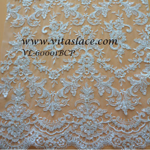 Wholesale White Rayon & Polyester Beaded Bridal Lace Fabric Wedding Dress (VL-60001BCP) pictures & photos