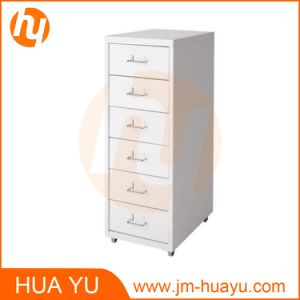 Home and Office Furniture Red 6 Drawers Movable Metal Filing or Storage Cabinet pictures & photos