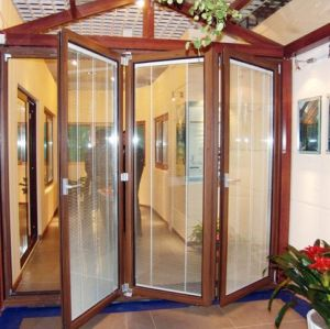 Aluminium Folding Door with Glass Decoration