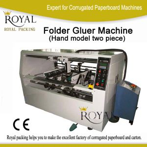 Semi-Automatic Two Pieces Folder Gluer Machine Used on Carton pictures & photos