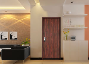 Wood Grain Safety Residential Metal Security Steel Door pictures & photos