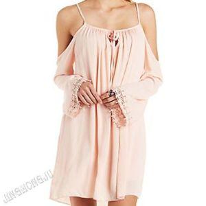 Ladies, Woven Leisure, Boho Charm, Crochet Trim Cold Shoulder Shift Evening Party Dress