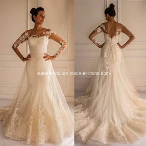 Sheer Long Sleeves Wedding Gown Mermaid Lace Bridal Dresses G1743 pictures & photos