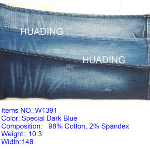 Custom Stretch Fashion Blue Cotton Denim Jeans Fabric (W1391) pictures & photos