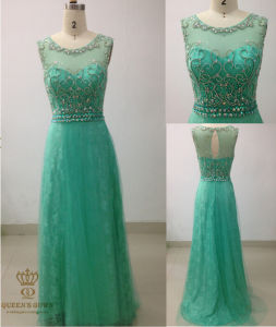Evening Dress with Heavy Floweral Beaded Bodice pictures & photos