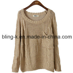 Fashion Pure Colour Knitting Sweater for Women/Ladies