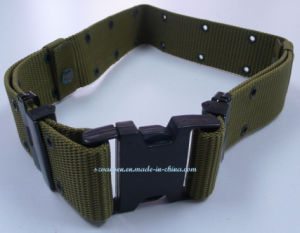 Polyester Webbing Belt with Plastic Black Buckle in Green pictures & photos