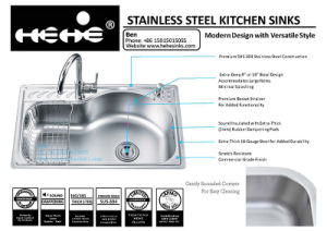 Stainless Steel Kitchen Sink, Drop in Sink, Sink, Stainless Steel Top Mount Single Bowl Kitchen Sink pictures & photos