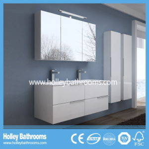High Ending Stone Bathroom Vanity with Two Side Vanity and Two Basins (BF116N)
