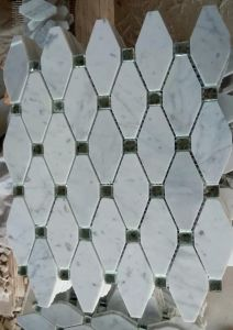 Octagon Mosaic Tile White Marble Stone Mosaic (HSM210) pictures & photos