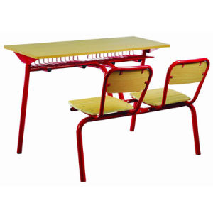 School Furniture Wooden Double Student Desk and Chair in Classroom (FS-3232) pictures & photos