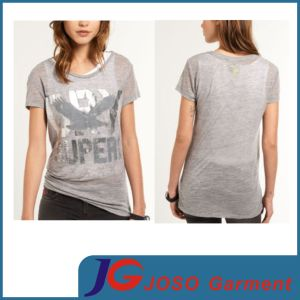 Grey Long Style Tee Shirt Design for Women (JS9053) pictures & photos