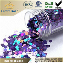 Hexagonal Metallic Glitter Powder for Decorations