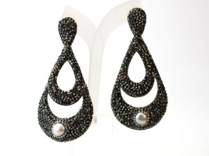 Best Selling Copper Black Crystal Earrings Earring Jewelry