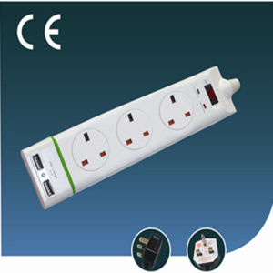 Three Ways Overload Protection British Extension Socket with USB with Switch
