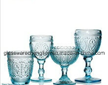 Embossed Colorful Glass Cup (B-C014) pictures & photos