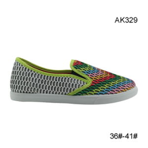 Injection Lady Casual Canvas Shoes Low Price Fashion (AK329) pictures & photos