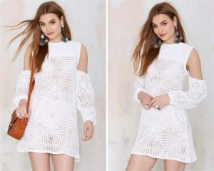 Women′s Pure White Fashion Crochet Dress pictures & photos