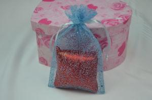 Glowing Metallic Blue Net Drawstring Bag for Gift Packaging/Mesh Bag