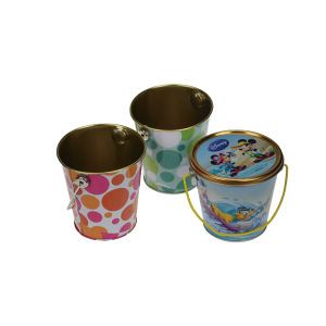 Custom Design Wooden Color Metal Tin Bucket pictures & photos