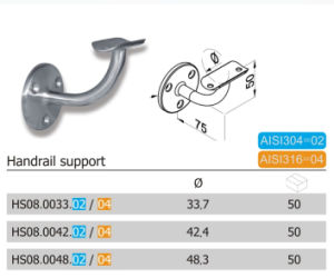 Simple Style Stainless Steel Bathroom Handrail Support (HS08.02/04) pictures & photos
