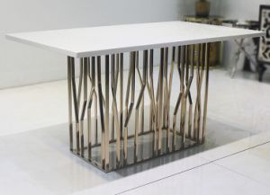 Unique Stainless Steel Marble Dining Table Set for Home (SDT-001)