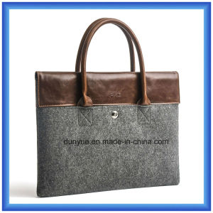 Factory Customized Wool Felt Laptop Briefcase Sleeve / Laptop Bag with Comfortable PU Leather Handle (wool content is 70%)
