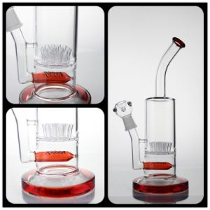 New Style Fashion Glass Smoking Pipe with Red Percolator and Hole Tree pictures & photos