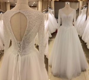 Long Sleeve Wedding Dress with Diamond pictures & photos