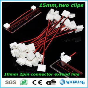 10mm 2 Pin Two Connector with Cable for SMD LED 5050 Single Color Waterproof LED Strip Light pictures & photos