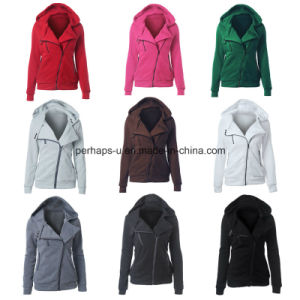 Hot Sale Women Hooded Sweater Casual Pure Color Oblique Hoodies pictures & photos