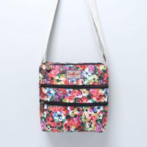Colorful Floral Three-Tier Zipper PVC Canvas Bag (23296)